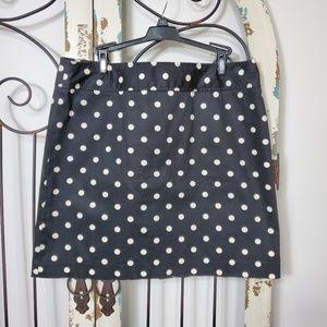 Rafaella black polka dots skirt size 14